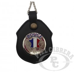 Porte insigne cuir Police Nationale (insigne inclus)