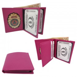 cuero e insignia Protección Civil color rosa